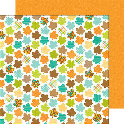 Doodlebug Flea Market (1) 12X12 Scrapbook Paper Merry Maples Leaves Autumn Fall