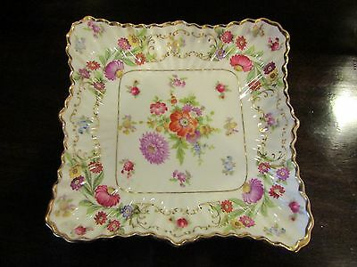 Hammersley bone china Dresden Sprays Frilly Square Dish c.1960-70