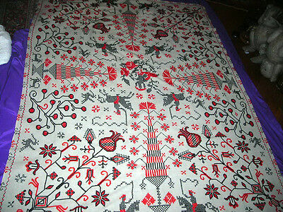 Antique 19Th C. Hand Stitched Primitive Americana Folk Art Amish Coverlet 5X7