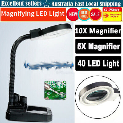 Magnifying Tool Crafts Desk Light Lamp With 5X & 10X Magnifier 40W LED Lighting