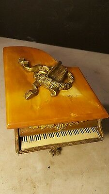 Antique Miniature Grand Piano Music Box Butterscotch Catalin Top-Plays