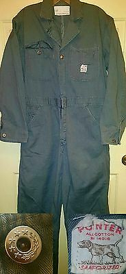 Vtg 50's / 60's Pointer Sanforized Gray Hbt Coveralls Medium Mechanic
