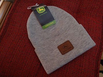 ~ JOHN DEERE ~ GREY GRAY Sueded Patch LOGO STOCKING KNIT HAT CAP BEANIE NEW wTAG