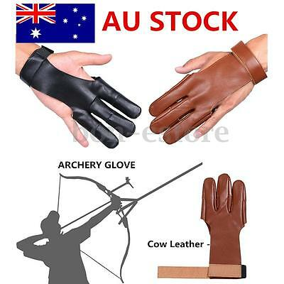 AU Cow Leather Archery Protect Finger Glove Pull Bow Arrow Shooting Hunting New