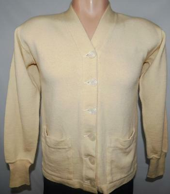 Vintage 50s/60s SAND KNIT Cream Wool VARSITY Sweater Size Mens X-Small