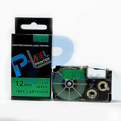 2PK Compatible Casio XR-12GN Black on Green 12mm 8m Label Tapes KL-2000 XR-12GN1