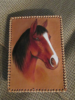 HAND PAINTED HORSE PORTRAIT ON LEATHER Laced Trim w easel stand