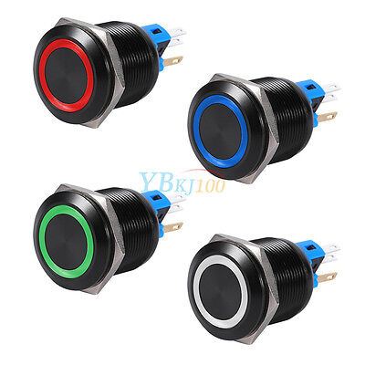 Hot 12V Colorful LED Self-locking Latching Push Button Switch Black 22mm 19mm DH