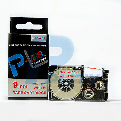 2PK Compatible Casio XR-9WER Red on White Label Tapes 9mm x 8m KL820 XR-9WER1