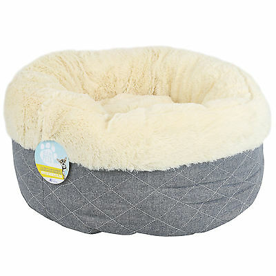 Me & My Super Soft Round Grey Donut Pet Bed Cat/kitten/dog/puppy Warm/snug/comfy