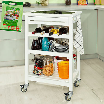 SoBuy® Wood Kitchen Trolley Cart with Black Tempered Glass Worktop,FKW16-G-W,UK