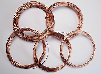 5 Pack of Bare Copper Wire for Jewellery Making/Crafting 0.4/0.6/0.8/1.0/1.5