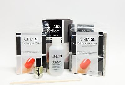 CND Offly Fast Removal & Care Kit Gel Polish Soak Off Pack Acetone
