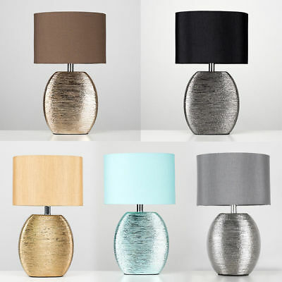 Modern Textured Ceramic Table Bedside Desk Lamp Fabric Shade Lampshade Lighting