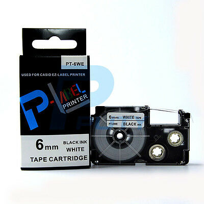 2PK Compatible Casio XR-6WE Black on White Label TapeS 6mm x 8m KL100 KL-120