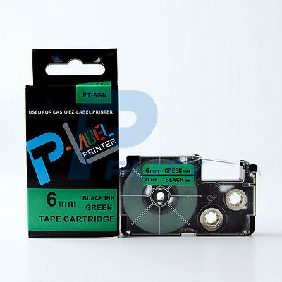 2PK Compatible Casio XR-6GN Black on Green Label Tapes 6mm x 8m KL430 KP820