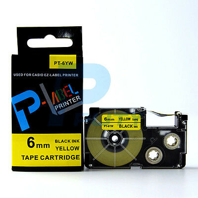 2PK Compatible Casio XR-6YW Black on Yellow Label Tapes 6mm x 8m KL60 XR-6YW1