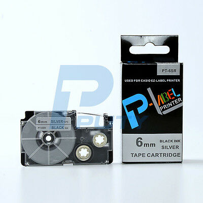 2PK Compatible Casio XR-6SR Black on Silver Adhesive Label Tapes 6mm 8m XR-6SR1