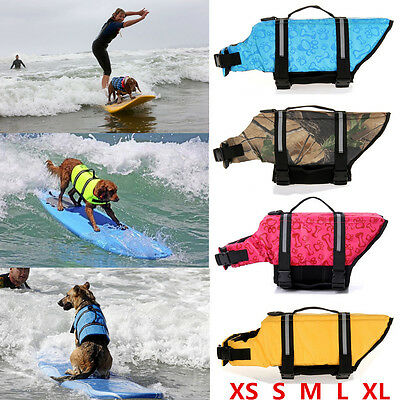Pet Aquatic Reflective Preserver Float Vest Dog Cat Saver Dog Life Jacket US