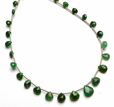 "Natural Gem Faceted Tsavorite 4 to 8MM Heart Shape Briolettes 10"" Green Garnet"
