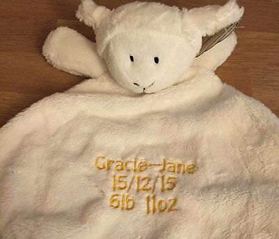 Personalised Embroidered Cream Lamb Baby Comforter Blanket Unisex