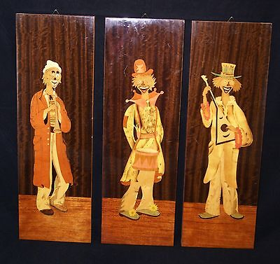 Trio Of Vintage 1960's Clown Marquetry Inlaid Wooden Panels.