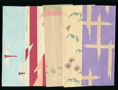 Japanese woodblock print art deco antique 5 Envelopes  Taisho -Showa era(-1940s)