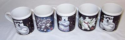 Coca Cola Polar Bear Mugs. Lot of (5) Coke Christmas Holiday Gibson