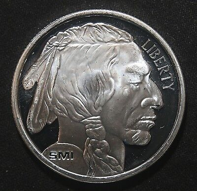 Indian Buffalo Sunshine Mint Smi 1 Oz .999 Fine Silver Round  Lot 040837