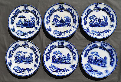 6 Assiettes Plates En Faience Bordeaux Vieillard Decor Chinois Dragons Tonkin *