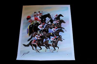 Songbird Mike Smith Signed Canvas Giclee Horse Racing Psa/dna Breederscup Hof