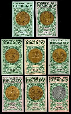 ✔️ Paraguay 1965 - Gold Coins And Medals Imperforated - Mi. 1417/1424 ** Mnh