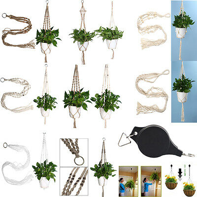 Macrame Plant Pot Hanger For Indoor Outdoor Ceiling Holder Hanging Baskets