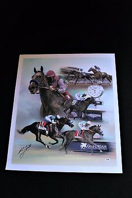 Arrogate Mike Smith Signed Canvas Giclee Horse Racing Psa/dna Breederscup Rare
