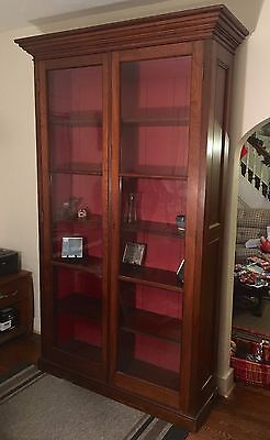 Antique Wood 8 Foot Tall Glass Double Two Door Bookcase Crown Molding 5 Shelves