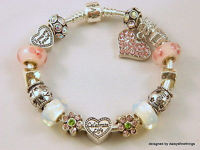 """Authentic Pandora Bracelet With Charms """"celebrate Life"""" Pink, White  Hinged Box"""