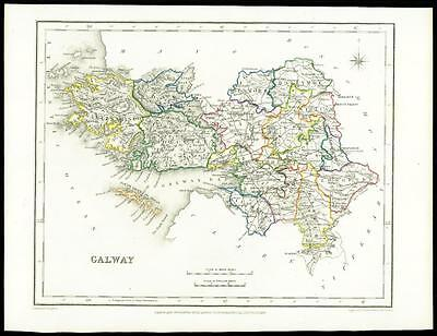 IRELAND 1845 Original Antique Map of GALWAY by Lewis & Co