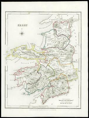 IRELAND 1845 Original Antique Map of KERRY by Lewis & Co