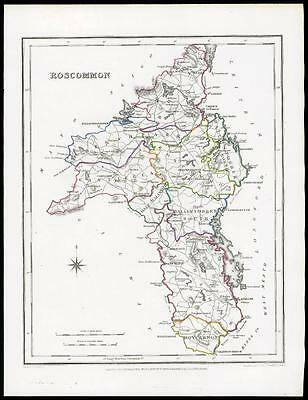 IRELAND 1845 Original Antique Map of ROSCOMMON by Lewis & Co