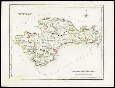 IRELAND 1845 Original Antique Map of WATERFORD by Lewis & Co
