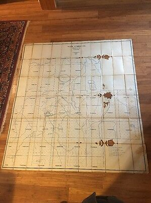 Old Large Oil Cloth Map Of Weed, Ca. Weed Lumber Company Land Holdings