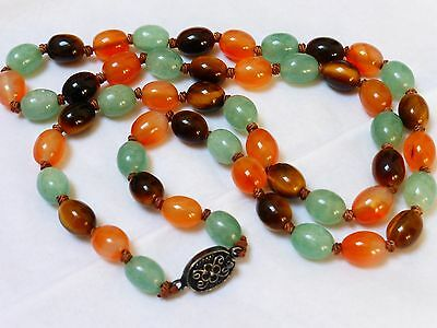 Vintage Chinese Carnelian Tiger Eye Jade Beads Necklace,  Silver Clasp