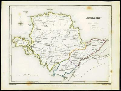 1845 WALES Original Antique Map of ANGLESEY by Lewis & Co