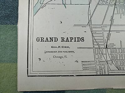 "GRAND RAPIDS MICHIGAN Map 1900 Antique Original VG+ 11""x14.5"" Vintage MAPZ22"