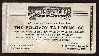 Vintage Ink Blotter*polovoy Tailoring Co*baltimore Md*cleaning & Dyeing*tawanda