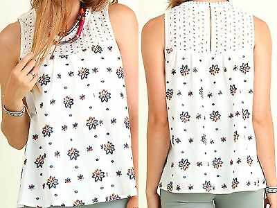 Umgee Top Size XL S M L Embroidered Lace Tank Free Boho People Womens Shirt New