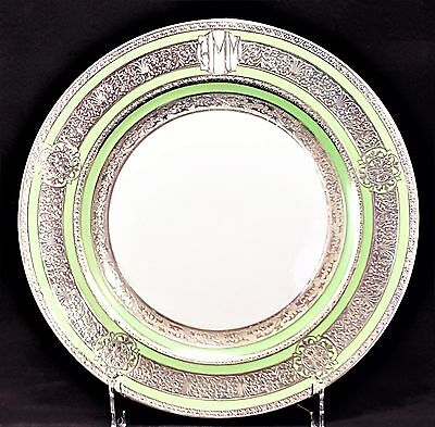 Monogrammed Plate w/ Heavy Sterling Silver Overlay c1930's Perfect Condition #2