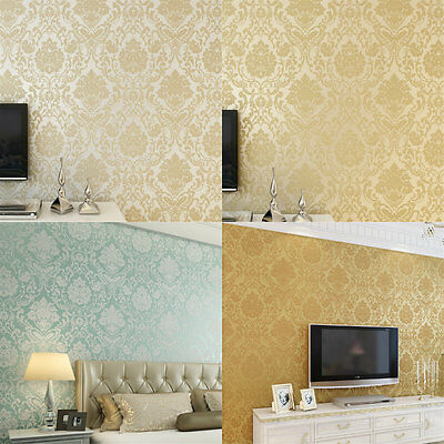 10M Modern Luxury Wall&paper Roll Mural Damask Embossed Flocking Wall Background