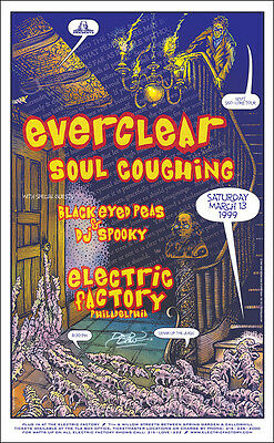 BLACK EYED PEAS EVERCLEAR SOUL COUGHING 1999 Philadelphia Concert Poster Signed
