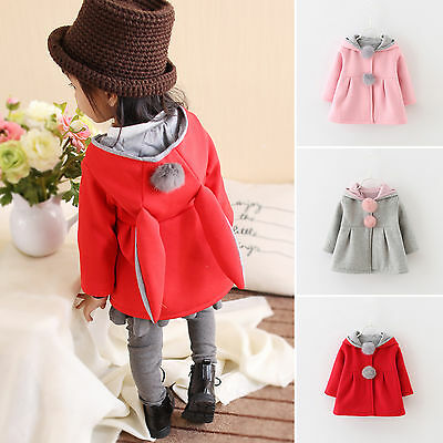 New Baby Girls Kids Rabbit Eared Hoodie Tops Hooded Button Coat Jacket Outerwear
